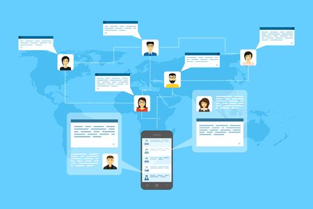 internet phone: picture of mobile phone, people avatars and speech bubbles, flat style illustration, internet connection, social network concept