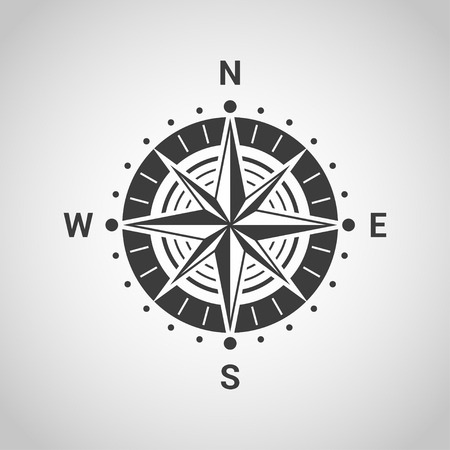 wind rose: black and white sillhouette icon of wind rose isolated on gray background