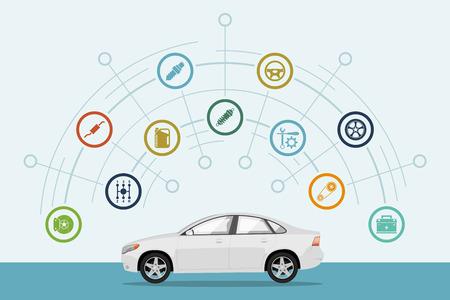 Szablon infograficzny z samochodowymi i samochodowymi ikonami części, serwis i naprawa koncepcji, płaski styl ilustracji Ilustracje wektorowe