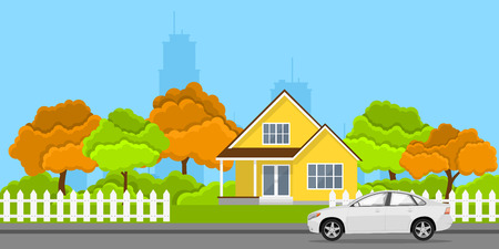 picture of a privat house and a car in front of it, flat style concept