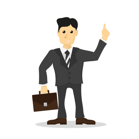 suit case: Picture of man dressed in suit with brief case in hand, office worker, businessman, flat style illustration