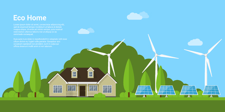 renewable energy: picture of a privat house, solar panels and wind turbines with mountains on background, flat style concept of eco home, renewable energy, ecology Illustration
