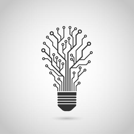 black and white silhouette icon of a light bulb in form of printed circuit board, flat style illustration