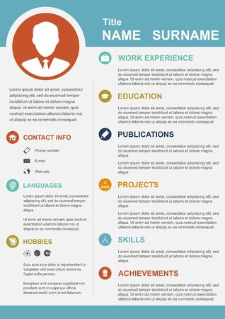 personal profile: infographic template with icons for cv, personal profile, resume organisation