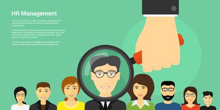 Disegno di bandiera in stile piatto di concetto di gestione di risorse umane, immagine di mano umana azienda lente di ingrandimento con gli avatar di persone sullo sfondo