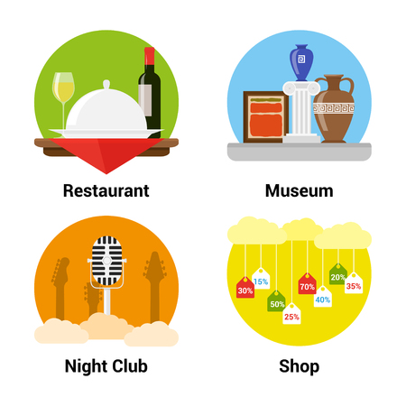 museum: set of flat style icons of entertainments, museum, night club, shopping, restaurant