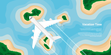 airplain: picture of a civilian plane flying above the islands, flat style illustration, banner for business, website etc., traveling, vacation, around the world concept