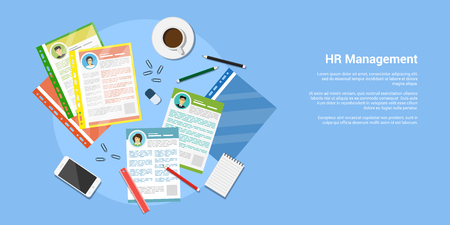 flat style banner, human resource and recruiting concept, cv files with office supplies