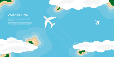 airplain: picture of a civilian planes flying above the islands, flat style illustration, banner for business, website etc., traveling, vacation, around the world concept
