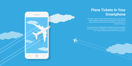 picture of civilian planes flying above mobile phone, flat style illustration, mobile air ticket service concept