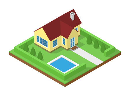 3d swimming pool: picture of isometric cottage house for real estate banners
