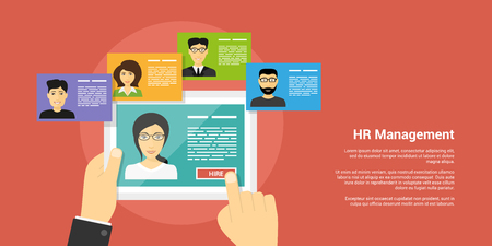 recruiting: flat style banner, human resource and recruiting concept, human hands and people avatars