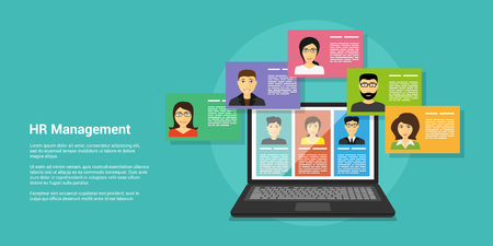 flat style banner, human resource and recruiting concept, laptop and people avatars