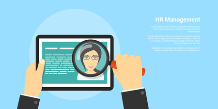 recruiting: flat style banner, human resource and recruiting concept, human hand with magnifying glass and womans avatar