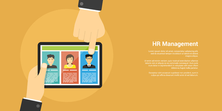 human hands: flat style banner, human resource and recruiting concept, human hands, digital tablet and people avatars