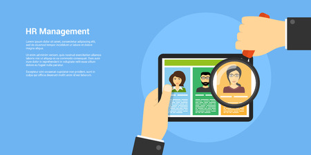 recruiting: flat style banner, human resource and recruiting concept, human hand with magnifying glass and people avatars Illustration