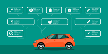 car service: infographic template with car and car parts icons, service and repair concept