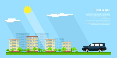 picture of a car with city sillhouette on background, flat style illustration, rent a car concept