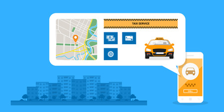 infographic template with taxi car on mobile phone screen, icons and town street on background, taxi service concept, flat style illustration