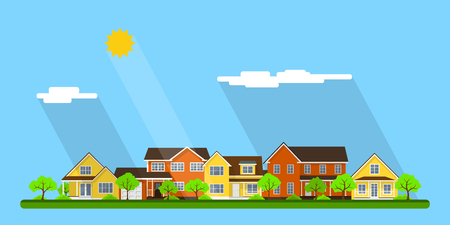 Modern colorful houses, small town street, stylized city landscape with trees, clouds and sun. Flat style illustration.
