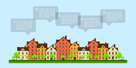 suburban street: picture of private houses with speech bubbles, real estate infographic template Illustration