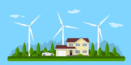 energy picture: picture of a private house, solar panels and wind turbines with mountains on background, flat style concept of eco home, renewable energy, ecology Illustration