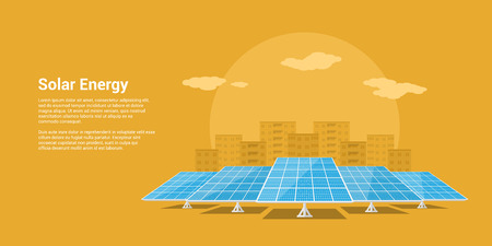 energy picture: picture of solar batteries with mountains city silhouette on background, flat style concept of renewable solar energy