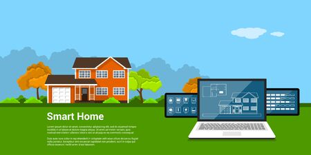 picture of computer tablet with house and house monitoring icons and cottage on background, flat style concept of a smart home Illustration