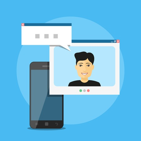 video call: Picture of smart phone with man avatar and speech bubble, mobile communication concept, video call