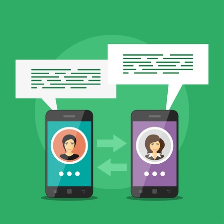 video call: Picture of two smart phones with people avatars and speech bubbles, mobile communication concept, video call Illustration
