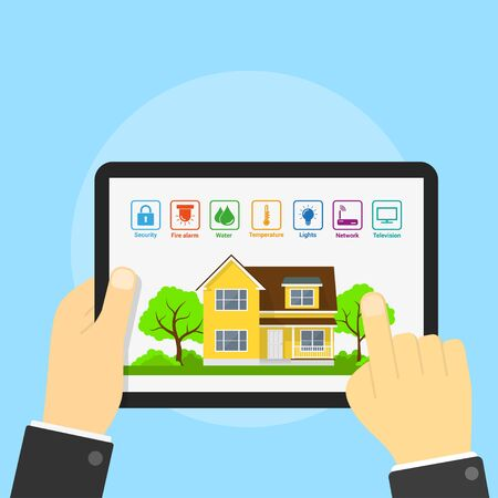 comfort: picture of tablet with house and icons on its screen, smart home concept, flat style illustration Illustration