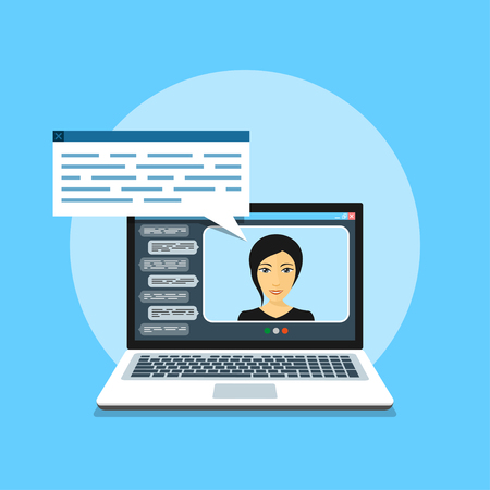 video chat: picture of computer with woman avatar on its screen, flat style illustration, video chat, online communication concept