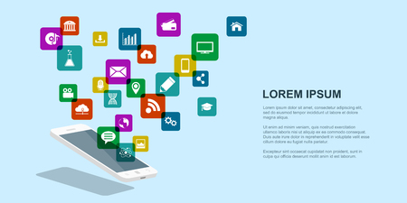 internet phone: picture of mobile phone with set of icons, internet technology concept, flat style banner Illustration
