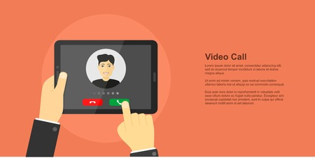 picture of human hand holding digital tablet with man avatar on its screen, video conference, online chat, video call concept, flat style banner
