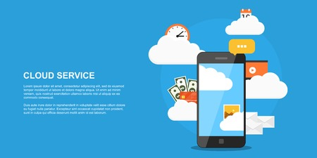 cloud service: flat style concept banner, cloud storage, cloud service, picture of smartphone with clouds and set of icons Illustration
