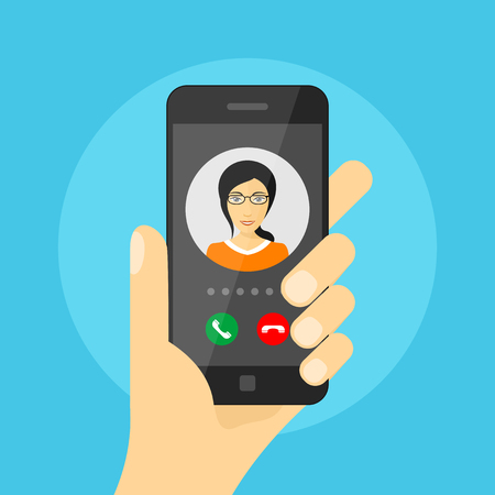 phone and call: picture of human hand holding mobile phone with woman avatar on its screen, incoming phone call, mobile phone communication, video call concept, flat style illustration Illustration