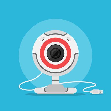 web camera: picture of web camera, flat style illustration