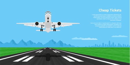 jetliner: picture of a landing or taking off plane with mointains and big city silhouette on background, flat style illustration