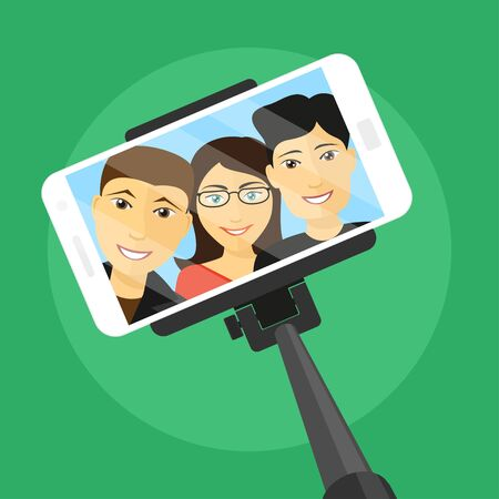 woman cellphone: picture of mobile phone with three friends on screen and selfie stick, flat style illustration