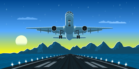 picture of a landing or taking off plane with mountains and big city silhouette on background, flat style illustration