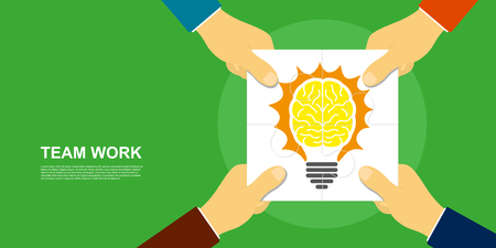 team hands: picture of human hands holding puzzle pieces, with light bulb image, flat style illustration, team work concept