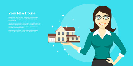 commercials: picture of young woman holding new house on her palm, house advertisement, flat style illustration