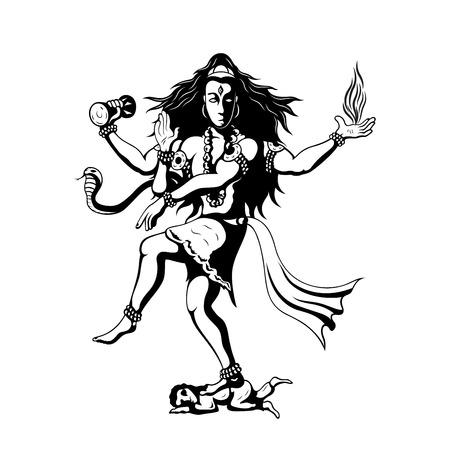 nataraja: Nataraja, black and white sillhouette illustration of dancing indian God Shiva