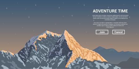 foto van een bergtop met sterren op de achtergrond, wandelen en klimmen banner-concept Vector Illustratie