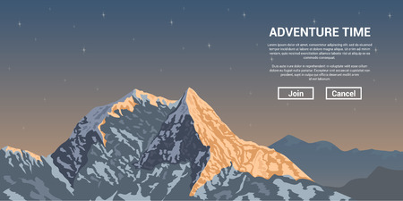 mountain sunset: picture of a mountain peak with stars on background, trekking and climbing banner concept