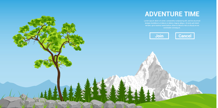 climbing mountain: flat style banner concept. traveling and adventure, trees and mountains