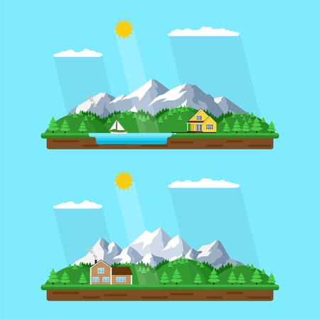 mountain summer landscape set, flat style illustration, house in the forest with mountains on background, forest lake, rest in peacefull village among mountains and trees Illustration