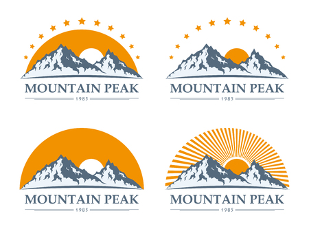 adventures: Set of mountain adventures logo and icons. Tourism, hiking, climbing, trekking and camping labels for tourism organizations, outdoor events and leisure activities.