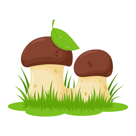 Obraz z dwóch grzybów kreskówek z trawy Ilustracje wektorowe