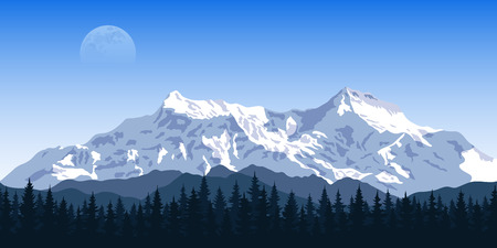 picture of a mountain range with forest silhouette and moon on background, travel, tourism, hiking and trekking concept
